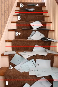 Papers thrown down stairs to determine grade